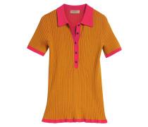Two-tone Cashmere Silk Polo Shirt
