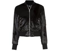 velvet finish bomber jacket