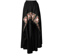 embroidered high low skirt
