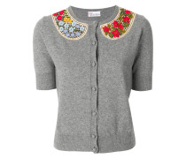 embroidered collar cardigan