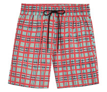Painted Check Cotton Drawcord Shorts