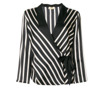 striped print fitted jacket