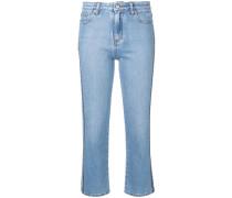 Cropped-Jeans mit Logo-Streifen