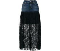 pleated lace denim skirt