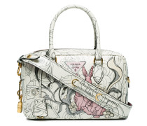 White Rabbit print Leather tote bag