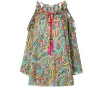 Schulterfreie Bluse mit Paisley-Print