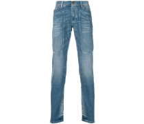 patch detail straight leg jeans