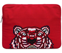 Laptop-Handtasche mit Tiger-Stickerei