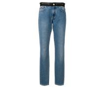 Gerade Jeans mit kontrastierendem Bund
