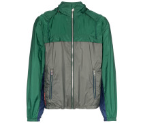 green and grey hooded jacket