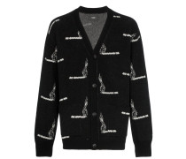 cigarette print knitted cashmere and wool cardigan