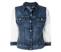 lace-sleeved denim jacket