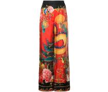 Seidenpalazzohose mit japanischem Print