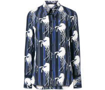 Seidenhemd mit Pferd-Print
