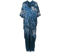 floral-embroidered caftan dress