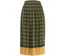 logo print pleated skirt