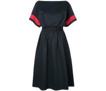 contrast-sleeve flared midi dress