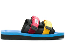 colour block double strap sandals