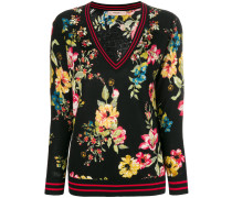 Floraler Pullover mit V-Ausschnitt