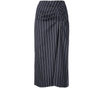 striped ruched pencil skirt