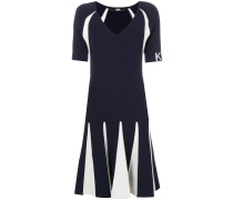 contrasting stitching knit dress