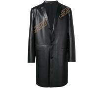 perforated logo midi jacket