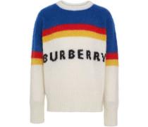 Striped Logo Intarsia Mohair Wool Blend Sweater