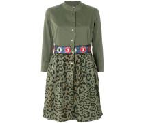 embroidered leopard print shirt dress