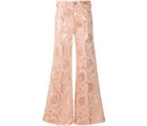 Ausgestellte Jeans mit barockem Print