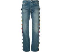 side velvet ribbon jeans short length