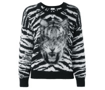Intarsien-Pullover mit Tigermotiv
