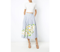 daisy print embroidered skirt