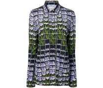 Bluse mit floralem Gittermuster