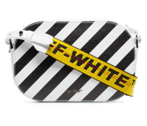 black and white diagonal stripe leather camera bag