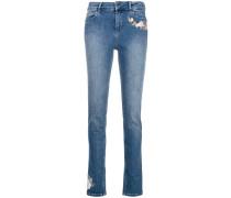 Schmale Jeans mit Stickerei
