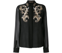 embroidered detail sheer shirt