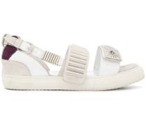 metallic touch strap sandals