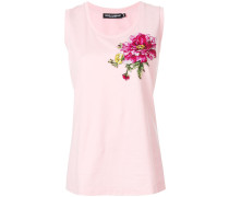 embroidered rose patch vest