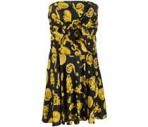 Schulterfreies Kleid mit Barock-Print