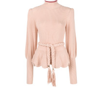belted roll neck sweater