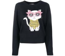 Pullover mit Intarsien-Katzenmotiv