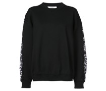 Sweatshirt mit floralen Spitzeneinsätzen