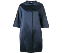 glossy collarless coat
