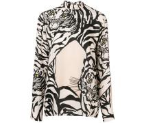 Seidenbluse mit Tiger-Print
