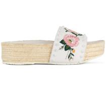 embroidered floral slides