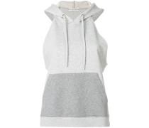 text print sleeveless hoodie