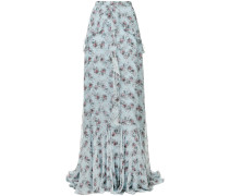 floral flared maxi skirt