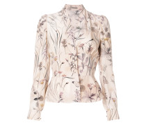 fitted waist floral blouse