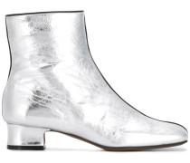 metallic zip-up ankle boots