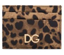 brown leopard print leather cardholder